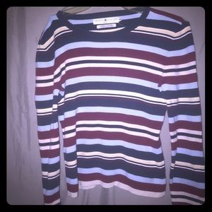 Tommy Hilfiger Red Blue Beige Striped Ribbed Top